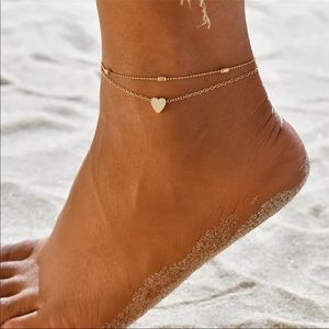 RESTOCKED Gold Layered Simple Heart Ankle Bracelet
